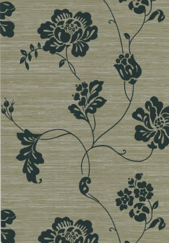 - Brewster 425-6085 Ink Black White Neutral Open Floral Vine Wallpaper, 20.5-Inch by 396-Inch, Black