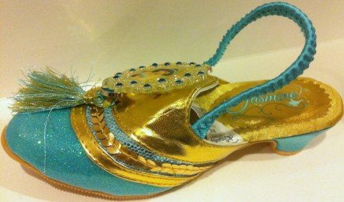 Jasmine Dress Up Costume (Disney Princess Jasmine From Aladdin, Dress up Pretend Play Halloween Costume Accessory Slippers Shoes Girls Shoe Size 7-8)