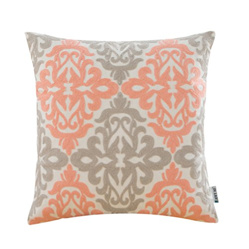 HWY 50 Coral Pink And Grey Sofa Throw Pillows Covers 18 x 18 inch , 1 Piece Cotton Canvas Embroidery Home Decorative Throw Pillow Cases For Couch / Bed , Modern European Art Deco Cushion Covers - Art Deco Sofa