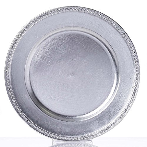"Efavormart 13"" Round Silver Crystal Beaded Acrylic Charger Plates Wedding Party Dinner Servers - Set of 6"