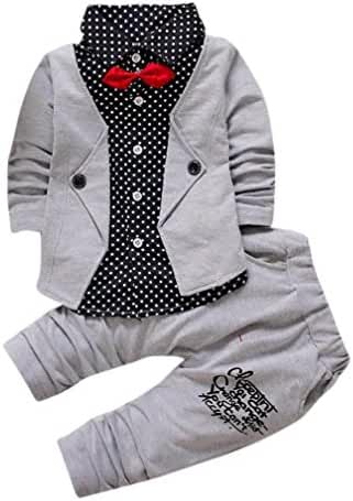 Baby Boy Suit,Laimeng Gentry Clothes Set Formal Party Christening Wedding Tuxedo Bow Suit (110, Gray)