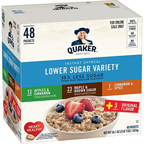 (Quaker Instant Oatmeal, Lower Sugar, Variety Pack, Breakfast Cereal, 48Count)