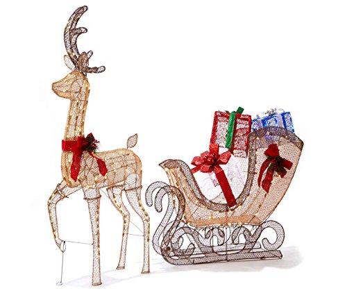 68'' Gold Reindeer Sleigh Gift Box Presents Display Outdoor Christmas Yard Lawn Sculpture Decoration Seasonal Display