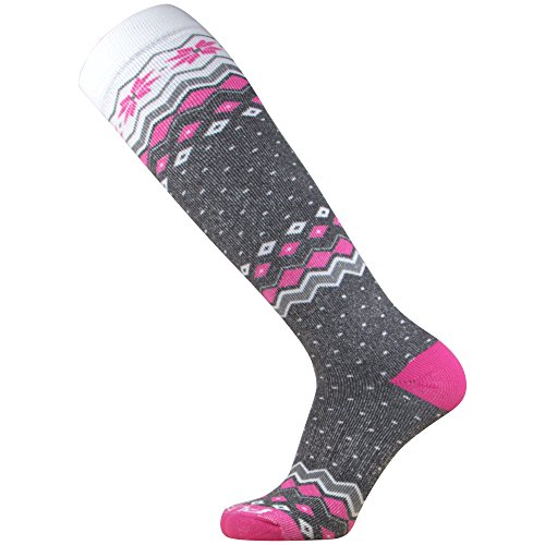 Midweight Ski Socks – Warm Skiing Sock, Snowboard Socks – Merino Wool, Moisture Wicking Winter Socks (M, Grey/Hot Pink)