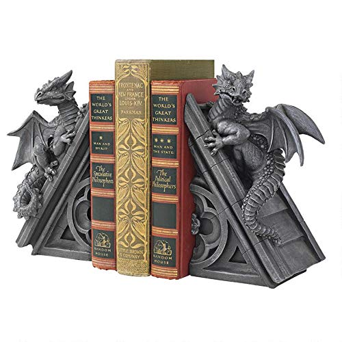 Design Toscano Castle Dragon Gothic Decor Decorative Bookend Statues, 8 Inch, Set of Two , Polyresin, Grey Stone by Design Toscano