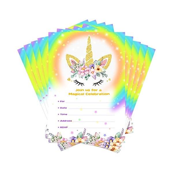 aytai 20piezas Rainbow Unicorn invitaciones de cumpleaños con sobres + etiquetas de agradecimiento, tarjetas de invitación para fiestas para niños suministros para fiesta de Baby Shower unicornio de cumpleaños, Floral