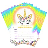 Aytai 20pcs Rainbow Unicorn Birthday Invitations with Envelopes + Thank You Tags, Party Invitation Cards for Kids Birthday Baby Shower Unicorn Party Supplies (Floral)