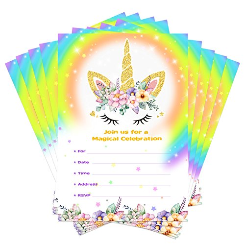 Unicorn Birthday Invitations with Envelopes + Thank You Tags, Party Invitation Cards for Kids Birthday Baby Shower Unicorn Party Supplies (Floral) (1st Birthday Party Invitations)