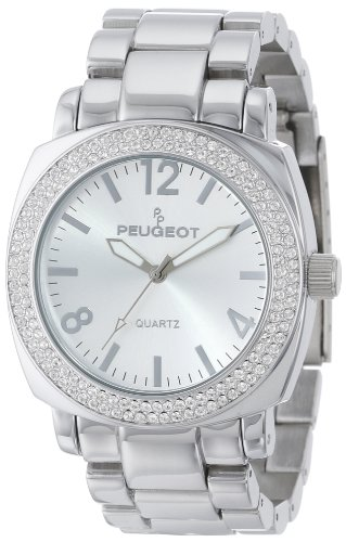 Peugeot Women's All Silver Boyfriend Oversized Watch with Swarovski Crystal Bezel Metal Link Bracelet 7075S ()