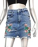 Zara Women Embroidered denim mini skirt 6688/207