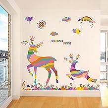 BIBITIME Sun Rainbow Colorful Deer Wall Sticker Reindeer Decals Christmas Elk Decor for Kids Nursery Bedroom Living Room Shop Window Doors