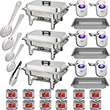 "Chafing Dish Buffet Set w/Fuel — Water Pans + Food Pans 8qt + Frames + Lids + Fuel Holders + 12 Fuel Cans + Serving Utensils, 15"", 11"" Perforated Spoon + 15"", 11"" Solid Spoon + 9"" Tong - 3 Warmer Kit"