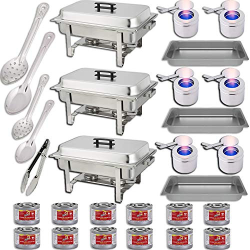 Chafing Dish Buffet Set w Fuel Water Pans Food Pans 8qt Frames Lids Fuel Holders 12 Fuel Cans Serving Utensils, 15 , 11 Perforated Spoon 15 , 11 Solid Spoon 9 Tong – 3 Warmer Kit