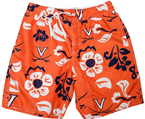 Wes and Willy NCAA Mens Floral Swim Shorts (Large, Virginia Cavaliers)