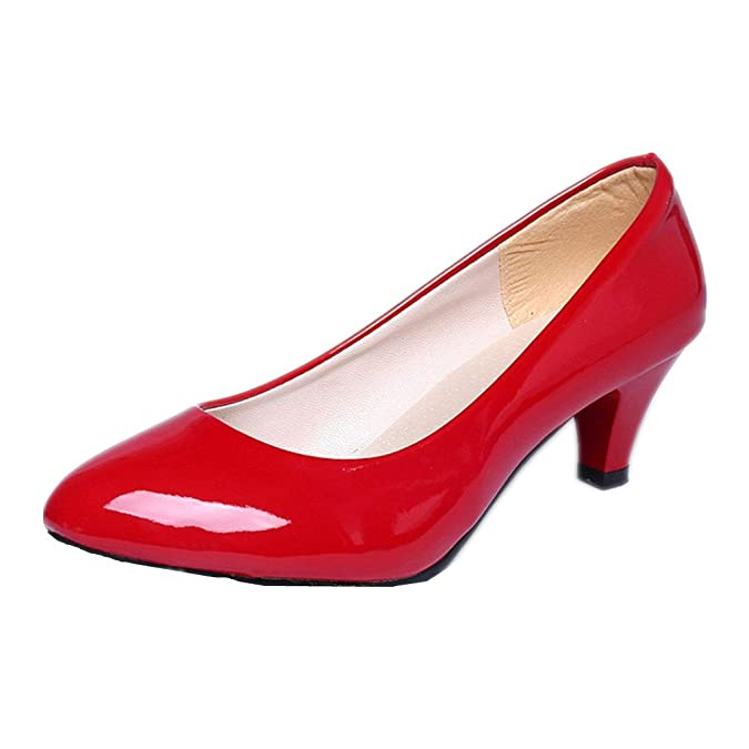 d55e7370747c LuckyBB Nude Shallow Mouth Women Office Work Heels Shoes Elegant Ladies Low  Heel  Amazon.co.uk  Shoes   Bags