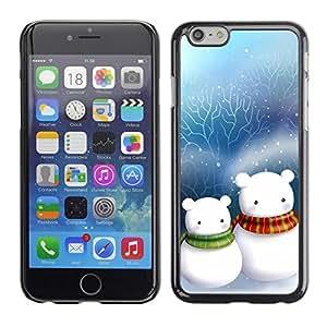 TopCaseStore / la caja del caucho duro de la cubierta de protección de la piel - Cute Snow Men Friends Christmas - Apple iPhone 6