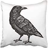 Throw Pillow Cover Square 18x18 Inches Death Hand Drawn Black Crow Raven Bird Sketch Vintage Tattoo Ancient Animal Artistic Aviary Beak Polyester Decor Hidden Zipper Print On Pillowcases