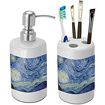 Attractive The Starry Night (Van Gogh 1889) Bathroom Accessories Set (Ceramic)