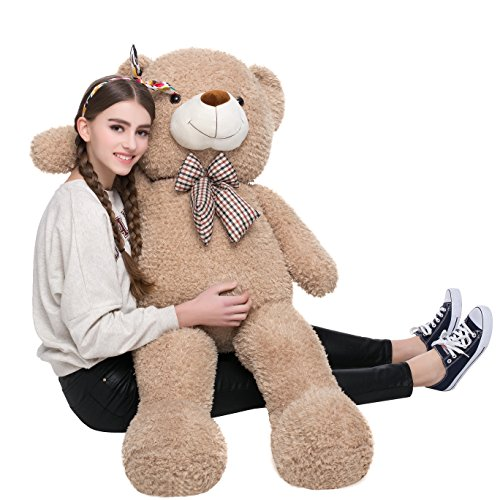 MorisMos 47 inches Giant Huge Teddy Bear Stuffed Animals Plush Toy for Children & Girlfriend Tan
