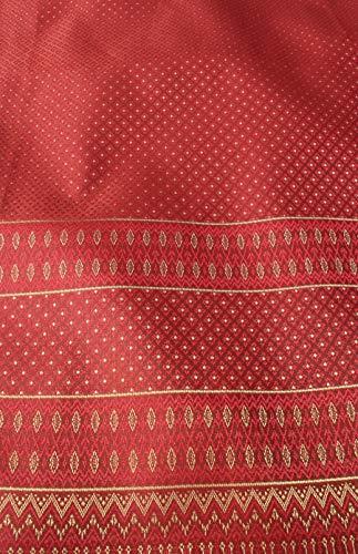 (RaanPahMuang Luxurious Thailand Silk Fabric Intricate Woven Motif 39 x 140 inch, Diamond Star - Carmine Red)
