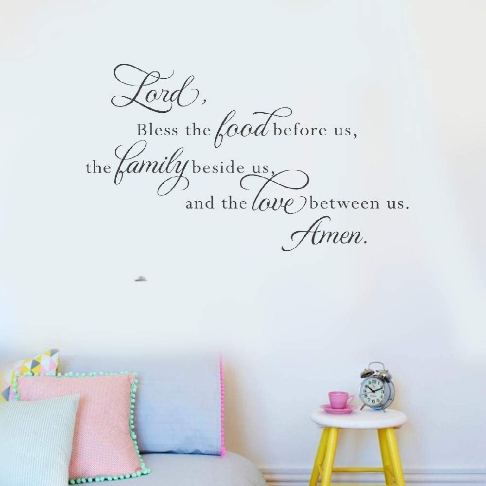 Art Saying Lettering Sticker Wall Decoration Art Lord Bless This Food Before Us The Family Beside Us for Living Room Dining Room