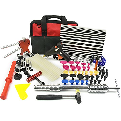 Wcaro 60pcs PDR Tools Paintless Dent Repair Tools Dent Remover Hail Repair Tools Kit Dent Removel Kit PDR Tool Kit Slide Hammer Bridge Puller Glue Dent Puller Tabs Line Board Glue Gun Car Dent Repair by Wcaro (Image #8)