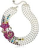 Betsey Johnson Womens Granny Chic Pearl and Colorful Cat Torsade Necklace, Multi, One Size