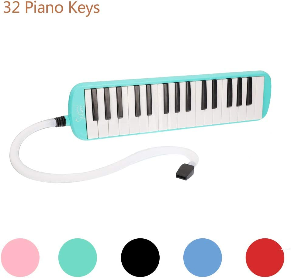 LAGRIMA 32-Key Melodica with Mouthpiece /& Hose /& Bag Black