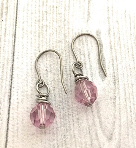 Element Amethyst Ring - Wire Wrapped Earrings, Light Amethyst Round Swarovski Crystal Element, Titanium Earwire