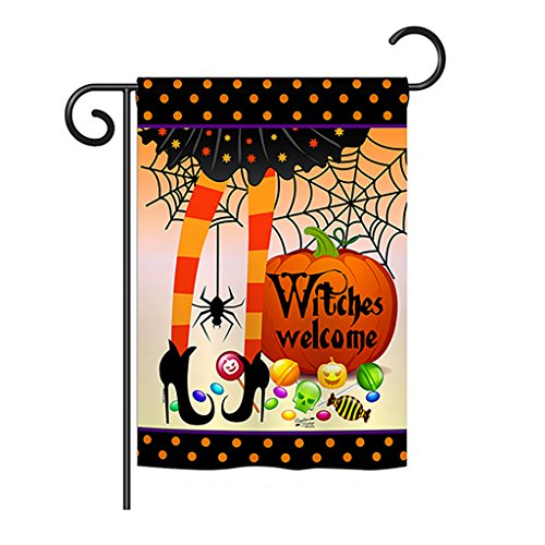 Angeleno Heritage G135069 Witches Welcome Fall Halloween Decorative Vertical Garden Flag, 13