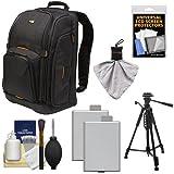 Case Logic Digital SLR Camera Backpack Case (Black) (SLRC-206) + (2) LP-E5 Batteries + Tripod + Accessory Kit for Canon EOS Rebel XS, XSi, & T1i