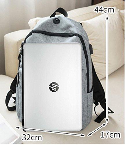 Foluton Laptop-Rucksack mit USB Ladeanschluss und Anti-Diebstahl Lock Reiserucksack Studenten Schulrucksack Backpack 15.6 zoll Laptoptasche Daypack Outdoor Wandern Camping Handtasche Tagesrucksack Grau