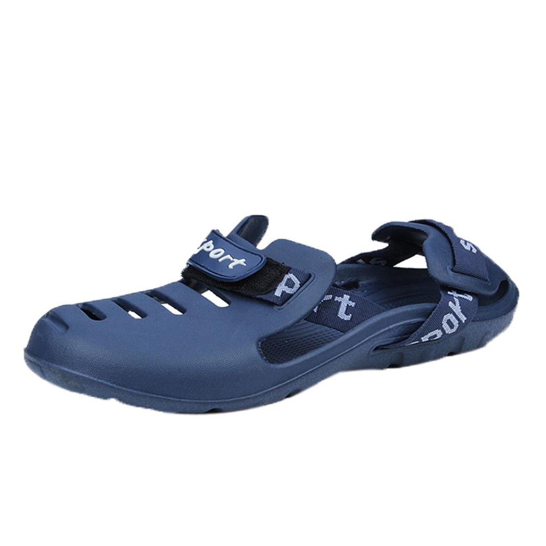 Hausschuhe Damen Sommer LUCKYCAT Loch Schuhe Herren Baotou Hausschuhe Herren Strand Sandalen Strandsandalen Schuhe Pantoletten SandalenCN:41=EU:40 Blau