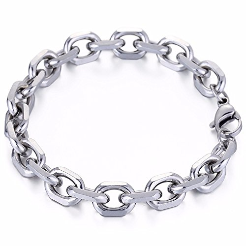 Trendsmax 10mm Mens Chain Boys Rolo Cable O Link Silver Tone Stainless Steel Bracelet 9inch (Link Chain Silver Tone)