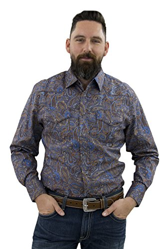 Paisley Fitted Shirt (STARR Western Snap Long Sleeve Print Men's Shirt SWPS100L-160-PURPLE Paisley-Size-XXL)