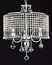 """Contemporary 3-light Crystal Chandelier Chandeliers Lighting With Crystal Shade! W 16"""" x H 21"""""""