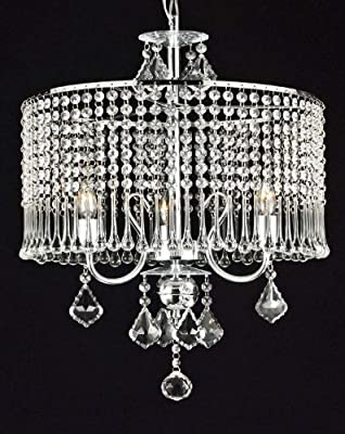 "Contemporary 3-light Crystal Chandelier Chandeliers Lighting With Crystal Shade! W 16"" x H 21"""