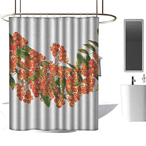 Qenuan Clear Shower Curtain Liner Rowan,Hand Painted Border Full of Rowan Berries Vintage Style Watercolor Flora, Coral Dark Green White,Rustproof Metal Grommets Bathroom Shower Curtain 47