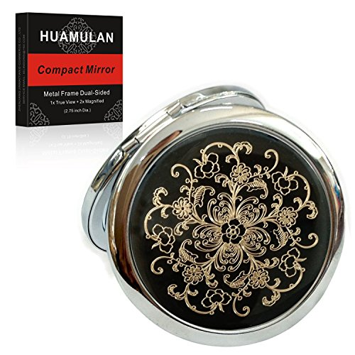 - 2PCS Black Floral Cosmetic Hand Compact Mirror, Metal Frame,Dual Sided, Wedding Favor Or Party Gifts, Cute Perfect For Purse &Travel,Dia. 2 3/4