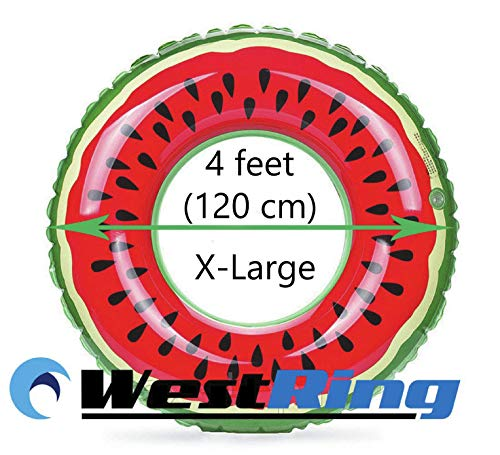 WestRing Inflatable Swim Rings Watermelon Swim Ring Pool Float Inflatable Boat for Fun Adults Or Kids Swim Party Toy (Watermelon, 120 cm, 4 ft) -