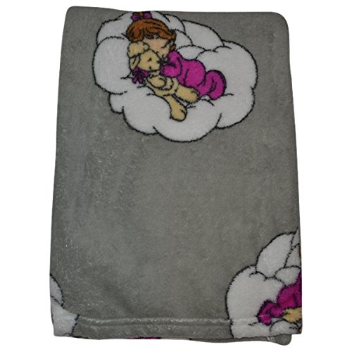 Precious Moments Baby Blanket Soft and Comfy Fleece 30 inches x 40 inches (Grey)