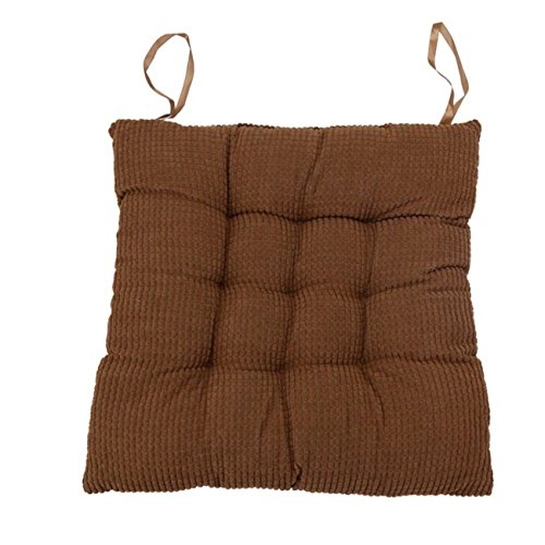 Soft Indoor Chair Pads Warm Corduroy Cushions Square Tufted Seat Cushions Pillows With Ties, 17