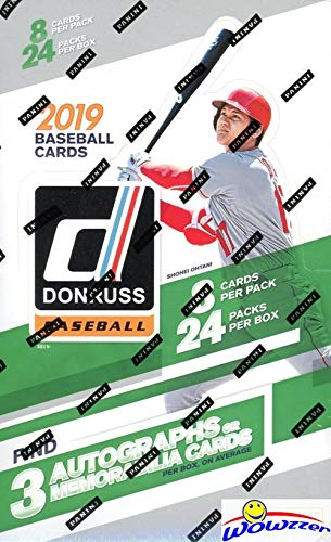 2019 Donruss Baseball Factory Sealed MASSIVE 24 Pack HOBBY Box with 192 Cards & THREE(3) AUTOGRAPH or MEMORABILIA Cards, 5 Numbered Parallels,10 Rated Rookies,15 Diamond Kings & Much More! WOWZZER! 24 Pack Hobby Box