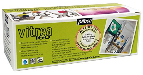 Pebeo Vitrea 160, Set of 10 Assorted Glossy Glass Paint...