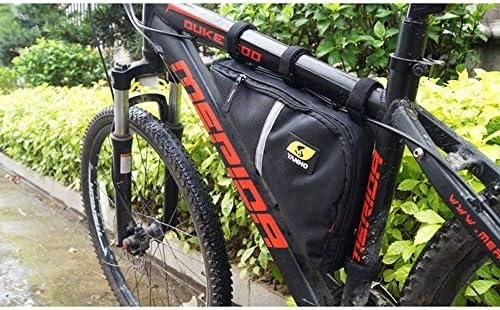 自転車バッグ 自転車トップチューブバッグ フレームバッグ サイクリングトライアングルパック自転車W/反射トリムアクセサリキー用財布携帯電話 適用 旅行/アウトドア/スポーツ/遠足など (Color : Black, Size : 35*8*21cm)