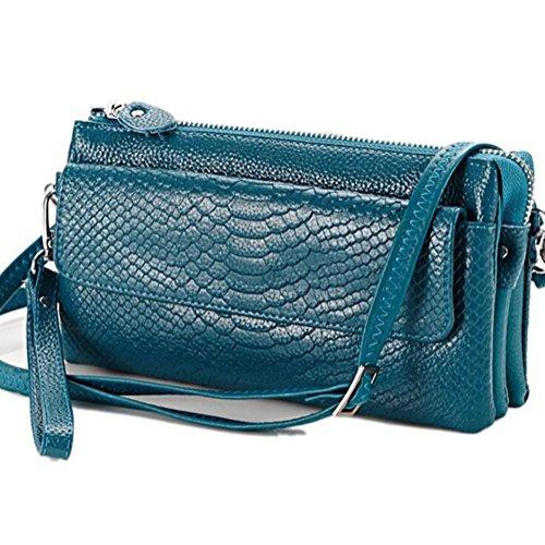 Elégant Fille Grande Femme Bleu Bracelet en Portefeuille avec Bandoulière pour Longue DcSpring Véritable Clutche Sac Cuir Capacité Pochette Zip g6wvaxqnTF