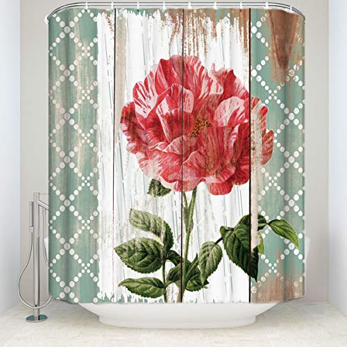 Libaoge Shower Curtain Set with Hooks, Red Rose Flowers Bathroom Decoration for Love Gift in Valentine Day, Rustic Country Barn Wood Waterproof and Soap Fabric for Valentine's Day, 72