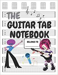 Guitar Tab Notebook: Guitar Book 6 Strings-Tablaturas Para Guitarra-100 Pages of Wide Staff Paper-8.5x11 Large Size ( Cover Design For Young Girls)