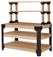 The Hopkins 90164 2x4basics Workbench and Shelving Storage System offers an easy fix to custom shelving. All the hardware is included, just add the size lumber you want (lumber not included). Simple assembly with only a powered screwdriver an...