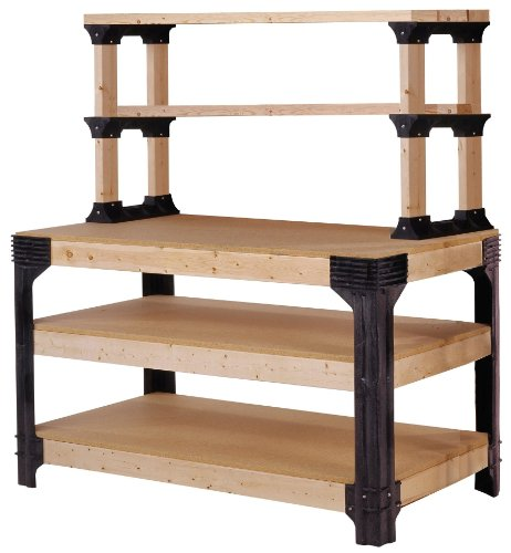 2 Station Workbench - 2x4basics 90164 Custom Work Bench and Shelving Storage System, Black
